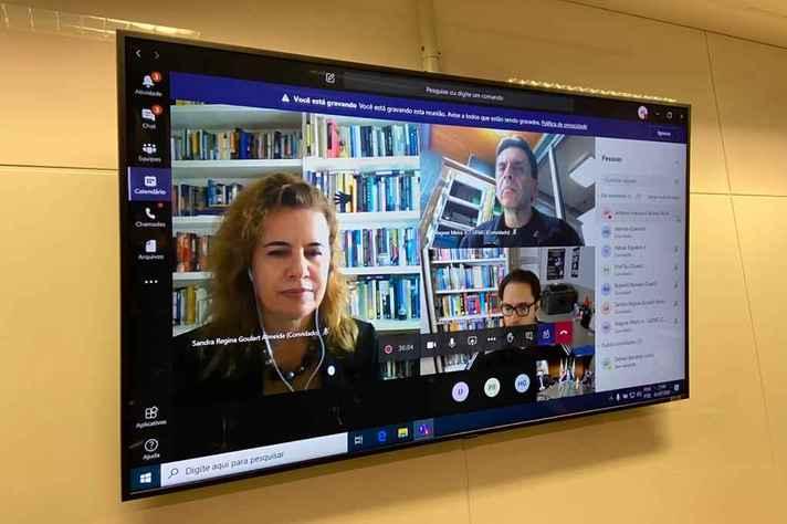 Sandra Goulart Almeida foi 'recebida' pelos dirigentes do TJMG em videoconferência